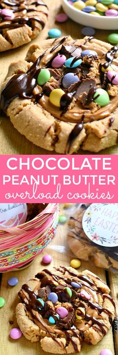 These Chocolate Peanut Butter Overload Cookies are so cute for spring and I love the personalized stickers for gifting! @StickerYou #cookies #ad