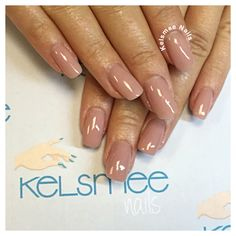 Youngnails acrylic with ManiQ overlay in beige nude nails