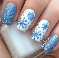 33 Beautiful Snowflake Nail Art Designs - Be Modish : glitter blue snowflakes nailart bmodish Blue Nail Designs, Winter Nail Designs, Winter Nail Art, Christmas Nail Designs, Winter Nails, Winter Art, Winter Snow, Winter Blue, Winter Ideas