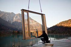 Holz-Hybrid-Bausystem: Illwerke Zentrum Montafon, Montage der Fenster