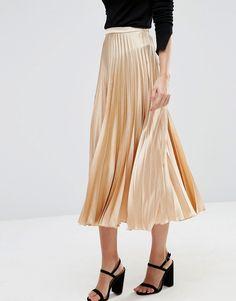 Image 4 of ASOS Midi Skirt in Pleated Satin