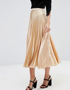 ASOS Midi Skirt in Pleated Satin 100% Polyester