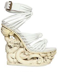 Emilio Pucci White Dragon Resin & Calfskin Wedges $ 3,495 #Shoes #Art #Heels
