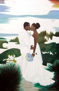 Black Art African American Loving Couple Wedding Day