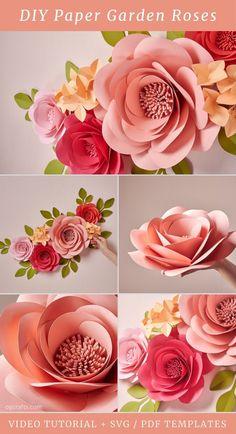 Flower Svg, Flower Template, Tissue Paper Flowers, Paper Roses, Diy Paper, Paper Crafts, Flower Video, Paper Flower Tutorial, Giant Paper Flowers