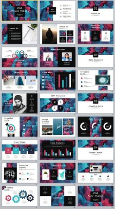 Business infographic : 27 Creative Annual Charts report PowerPoint template #powerpoint #templates #pr