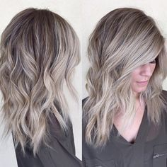 pretty color, cut, and length Medium Hair Styles, Short Hair Styles, Brown Blonde Hair, Gray Hair, Grey Blonde, Blonde Bangs, Grey Hair Brown Roots, Medium Ash Blonde Hair, Blonde Honey