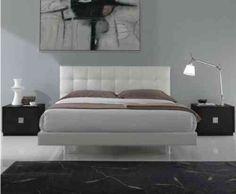 chambre à coucher design en gris et blanc