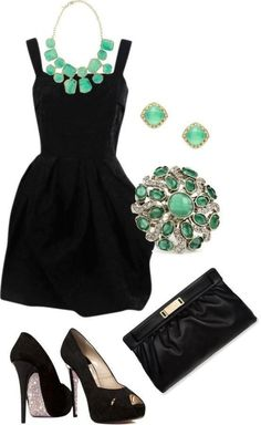 little black dress with turquoise green jewelry #fashion