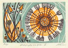 Angie Lewin does wonderful and inspiring printed work in linocut, wood engraving and collage.