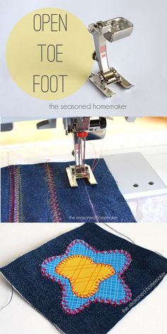 Sewing Machine Feet: Do you love to use decorative stitches? How about appliqué? If so, then you need a Satin Stitch/Open Toe Foot. The groove on the back makes it perfect for sliding over dense stitches.  - The Seasoned Homemaker