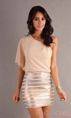 Short Sequin Dress with One Shoulder, Party Dresses- PromGirl