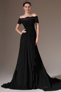 6568c99187 eDressit 2014 New Black Off-Shoulder Lace Sleeves A-Line Evening Gown  (02143800