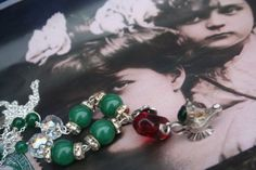 Fairy Tale and fantasy Silver Assemblage necklace, unique Upcycled chunky Boho statement gemstone necklace, Made in Ireland, poison ring, Christmas Necklace, Christmas Jewelry, Sister Gifts, Gifts For Mom, Poison Ring, Green Gemstones, Upcycled Vintage, Bead Caps, Unique Necklaces