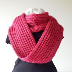 Infinity Scarf Ruby Pink Hand Knitted Fuchsia by SophiesKnitStuff