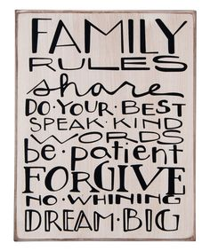 Take a look at the 'Family Rules' Box Sign on #zulily today!