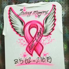 Custom Airbrushed Breast Cancer T shirt by AirbrushCustoms on Etsy