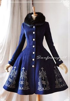 This looks so darn cozy and cute Lace Wide Collar Long Sleeves Coat with A-line Skirt - The Pantheon of Elements by Surfacespell Vintage Dresses, Vintage Outfits, Vintage Fashion, Old Fashion Dresses, Fashion Outfits, Pretty Dresses, Beautiful Dresses, Mode Lolita, Lolita Style