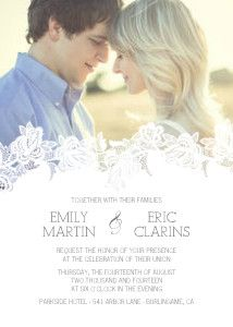The enchanting Delicate Overlay invitation showcases your favorite, special photograph above a romantic layer of fine, white lace.