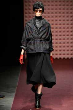 This Rachel Comey jacket is slammin...gloves in a bold color totally make this outfit pop...