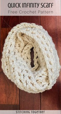 Easy Crochet Infinity Scarf - Snowfall Scarf A perfect pattern for beginners! This easy crochet infinity scarf uses basic stitches and is finished in around an hour. Check out this fast crochet scarf! Crochet Scarves, Crochet Yarn, Crochet Clothes, Crochet Kids Scarf, Crocheted Scarf, Crochet Geek, Crochet Granny, Crochet Infinity Scarf Free Pattern, Easy Knitting Patterns