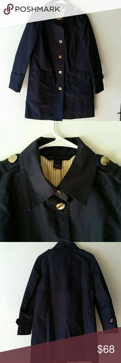 """Marc by Marc Jacobs trenchcoat Almost brand new ,wore once ,high quality trench coat,shell 75% cotton,lining 100 % cotton,bust 38""""length34""""back ahoulder 32""""color  is navy Marc by Marc Jacobs Jackets & Coats Trench Coats"""