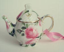 Teapot Christmas Ornament Porcelain Mini w/ Pink Roses 9.48