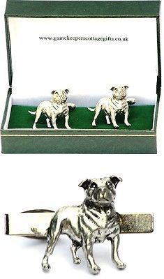 #Staffordshire bull terrier #cufflinks & tie clip bar slide mens set #staffy gift, View more on the LINK: http://www.zeppy.io/product/gb/2/380952338795/