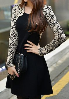 Embroidered Lace Sleeves Dress - @LookBookStore in Black