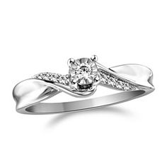 0.13 Ct Roun Cut Diamond Promise Ring In 14K White Gold Over by JewelryHub on Opensky
