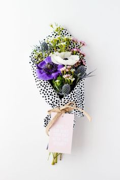 flowers wrapped in polka dots