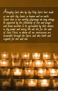 All Saints Day is Saturday. Here is a prayer for the occasion from the English Book of Common Prayer. (BCP) This is a wonderful time to remember those loved faithful souls gone on ahead. Walk By Faith, Faith Hope Love, Faith In God, Lord's Prayer, Say A Prayer, Anima Christi, Book Of Common Prayer, Christian Messages, Jesus Lives