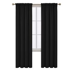 Deconovo Rod Pocket Blackout Curtains Room Darkening Thermal Insulated Window Panel Drapes for Sliding Glass Door 42 x 84 Inch Black 2 Panels