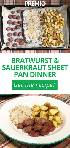 Premio bratwursts, potatoes, and sauerkraut baked on a sheet pan till tender and crisp. Enjoy this delicious taste of home. Serve warm and enjoy! Brats And Sauerkraut, Bratwurst Recipes, Potato Dinner, Sheet Pan Suppers, Yukon Gold, Cooking For Two, Delicious Dinner Recipes, Winter Food, Fennel