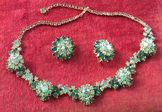 Vintage Trifari Emerald & Soft Green Rhinestone Necklace and Earring Set 1961 #Trifari
