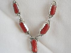 Native American Coral Lariat Sterling Necklace by Jadelsjewelry