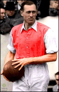 Footballer, and later manager, Joe Mercer, while playing for Arsenal, sometime between 1946 and 1955. He first played for Ellesmere Port Town, in his birthplace, until he was 18, when he joined Everton, where he stayed until the second world war interrupted play, (though he played in 26 wartime international games), joining Arsenal after the war
