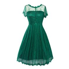 Green Lace Hollow Out Vintage Dress