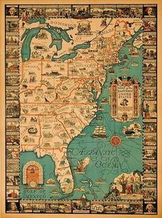 Eastern United States Travel Map Poster  Date: 1929  Artist: Griswold Tyng