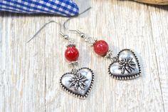 Red Heart Earrings, Bavarian Edelweiss Earrings, Country Style Heart Earrings, Bavarian Dirndl Earrings, Bavarian Oktoberfest Earrings, by ESBeadworks on Etsy