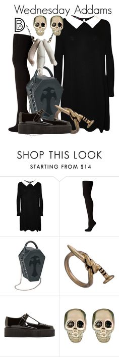 """""""Wednesday Addams"""" by leslieakay ❤ liked on Polyvore featuring WearAll, Hue, Blu Bijoux, Underground, Givenchy and Halloween"""