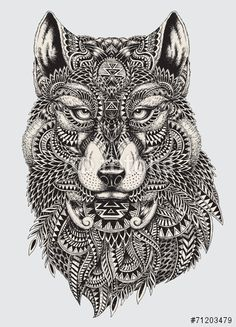 Vector: Highly detailed abstract wolf illustration