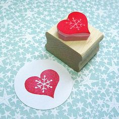 snowflake heart hand carved rubber stamp | skull and cross buns