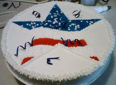 Of July Cake round cake, with a hand made Star Stencil, then star tipped. Fourth Of July Cakes, 4th Of July Celebration, 4th Of July Party, July 4th, Star Cakes, 3d Cakes, Cupcake Cakes, Modeling Chocolate, Holiday Cakes