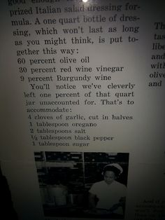 Lou Malnati's Salad Dressing Recipe ~ as published in the Chicago Tribune ~ circa 1960's