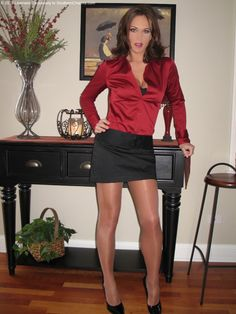 Sheer Shimmer Pantyhose Red Satin Blouse Short black Skirt and Black High Heels