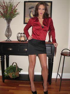 Sheer Shimmer Pantyhose Red Satin Blouse Short black Skirt and Black High Heels