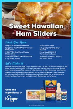 Hawaiian Ham Sliders, Hawaiian Sweet Rolls, Appetizer Recipes, Snack Recipes, Cooking Recipes, Snacks, Quick Party Food, Deli Fresh, Cut Block