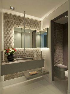 Decor Salteado - Blog de Decoração e Arquitetura : Lavabos com bancada da pia separada do vaso por porta - veja modelos lindos!