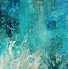 Contemporary abstract painting with cool colored brush strokes varying in length and direction. Aqua Falls Wall Art by Jodi Maas from Great BIG Canvas. #abstractart